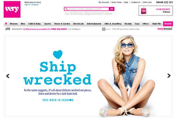 Very.co.uk website: Shop Direct paid search account stays with OMD