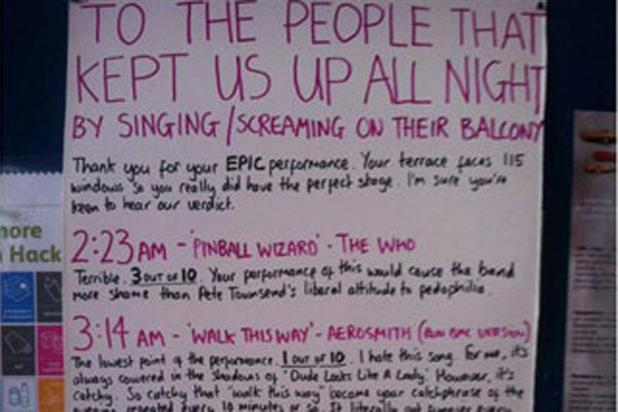 Karaoke complaint: Oli Beale's review of his noisy neighbours' performances