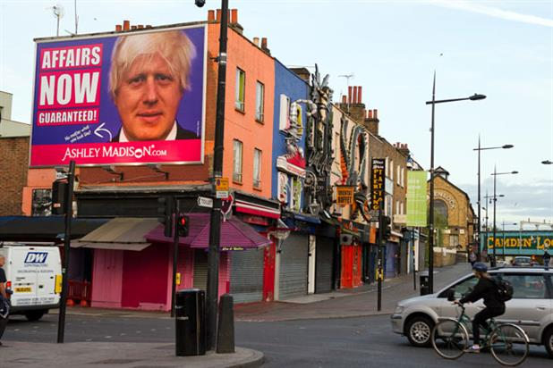 Ashley Madison: erects Boris billboard in Camden