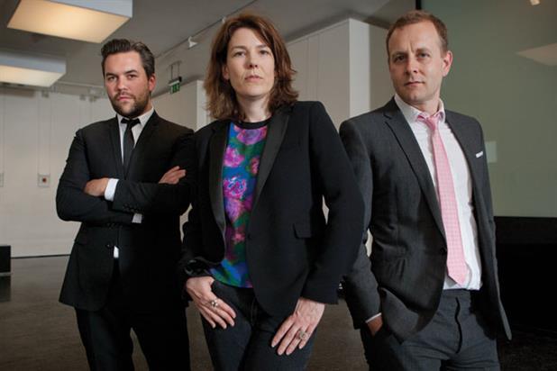 Grey: (l-r) Nils Leonard, Lucy Jameson and Chris Hirst