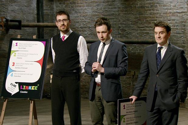 Ad Men: the hopeful trio pitch the Linkee game to the Dragons