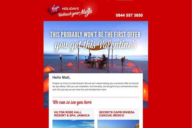 Virgin Holidays: rolls out Valentine-themed campaign