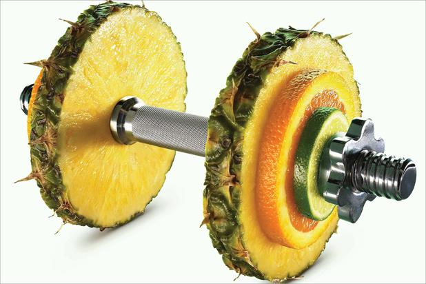 Nuffield Health: Now's ads combine gym equipment with fruit and vegetables