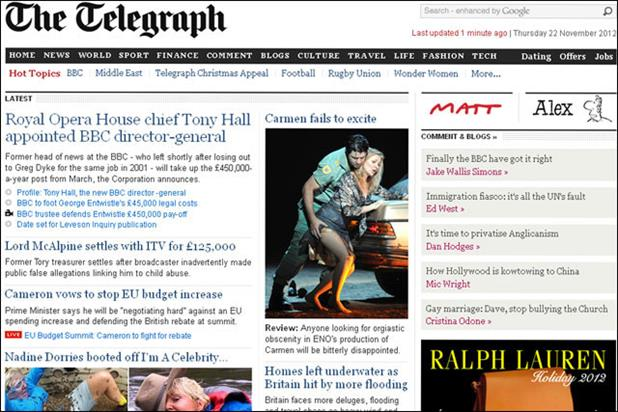 Telegraph.co.uk: reported the biggest leap in monthly users for October