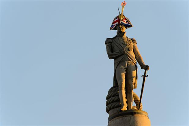 Lord Nelson sports Union Jack headgear
