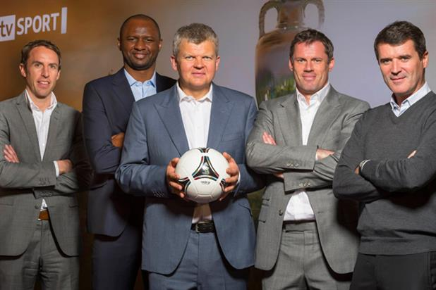ITV1's Euro 2012 presenting team: Gareth Southgate, Patrick Vieira, Adrian Chiles, Jamie Carragher and Roy Keane