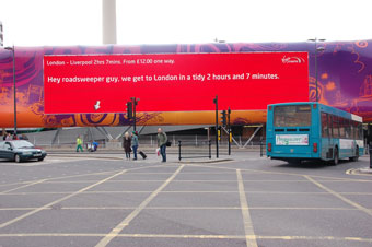 Virgin trains... giant 'talking' posters