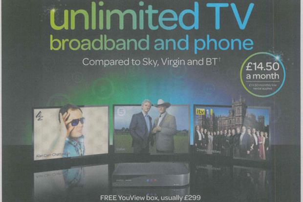 Talk Talk: press ad that sparked clash with fellow YouView partner BT