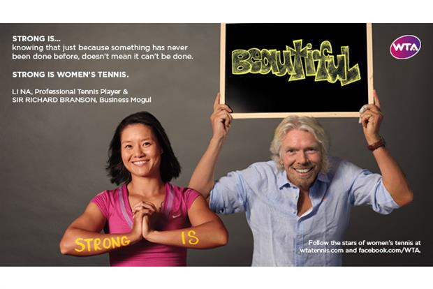 WTA: ads star celebrities such as Sir Richard Branson