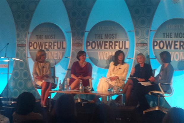 Ex-Coke CMO Mary Minnick (far left) speaking at Fortune's 'The Most Powerful Women' event