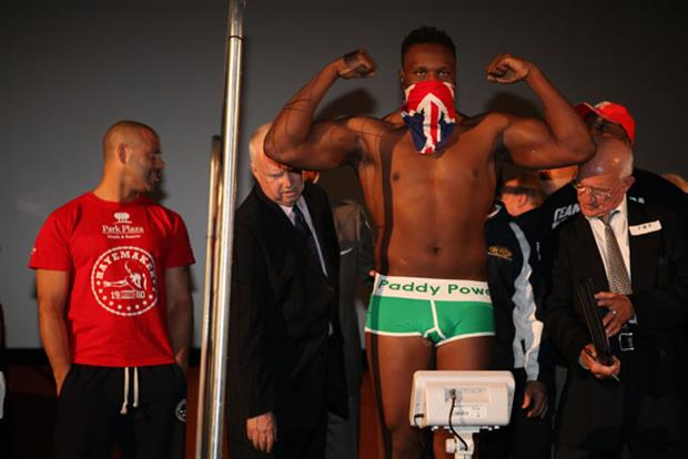 Paddy Power: Dereck Chisora dons the brand's pants for weigh-in