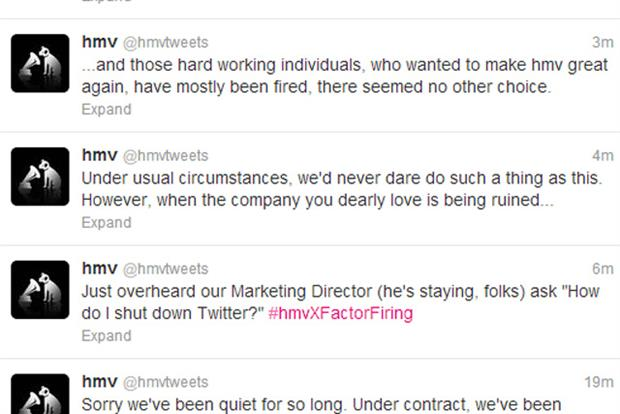HMV: Twitter account hijacked