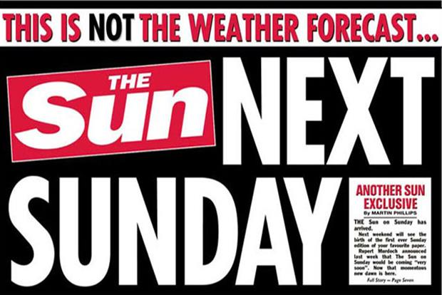 The Sun: Monday's front cover announces the launch of the Sunday edition