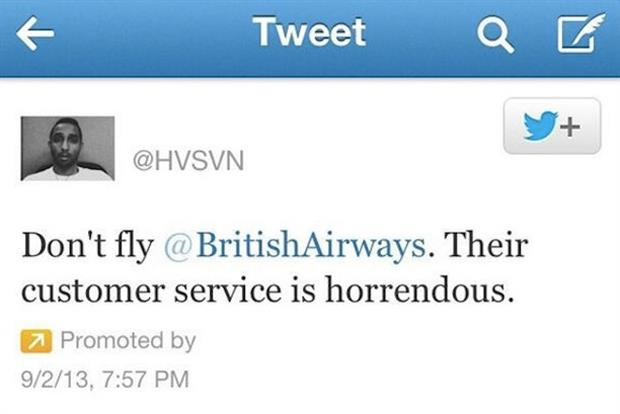 British Airways: disgruntled customer Hasan Syed paid for a Promoted Tweet