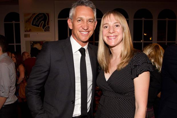 Gary Lineker: pictured with Walkers marketing diretor Miranda Sambles