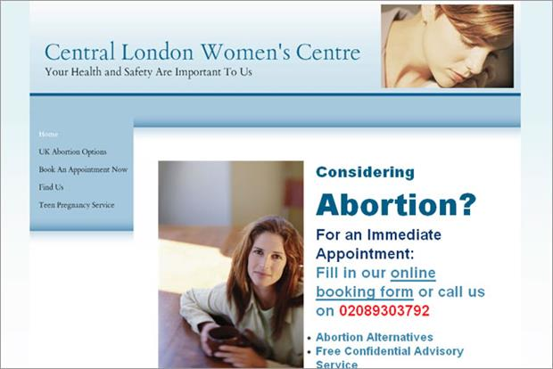 Central London Women's Centre: censured by the ASA for misleading users