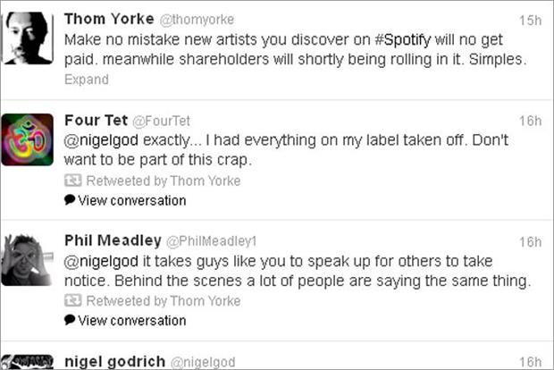 Thom Yorke: tweeted the news that he has pulled songs from Spotify
