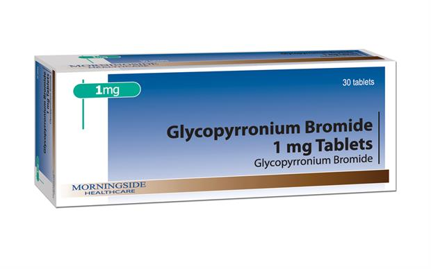 Glycopyrronium bromide is an anticholinergic that diminishes the volume and free acidity of gastric secretions.