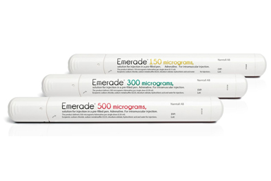 The Emerade (adrenaline) prefilled pen is used for injection into the anterolateral thigh, through clothing if necessary.