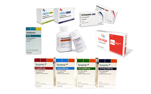 The SGLT2 inhibitors dapagliflozin, canagliflozin and empagliflozin are available as single agents and in combination with metformin.