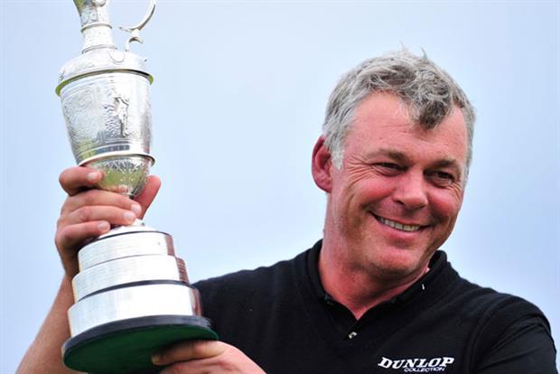 Darren Clarke: receiving the Open Championship winner's Claret Jug trophy