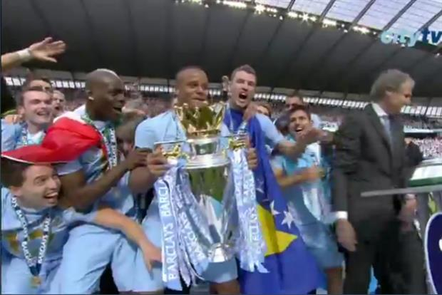 Manchester City take the Premiership: pic courtesy of www.mcfc.co.uk