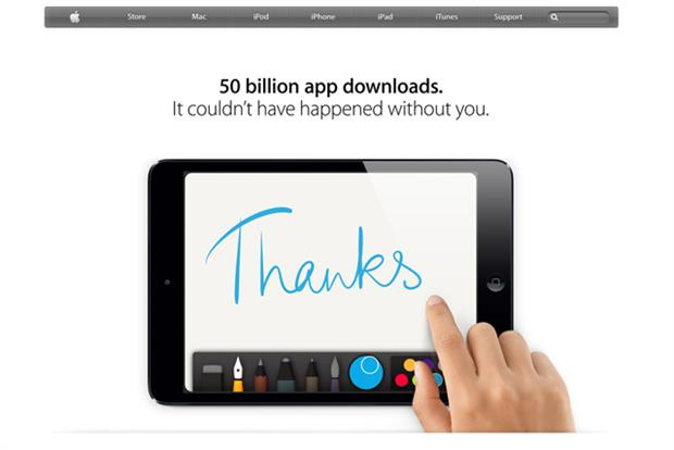 Apple: reached 50 billionth app download yesterday (15 May)