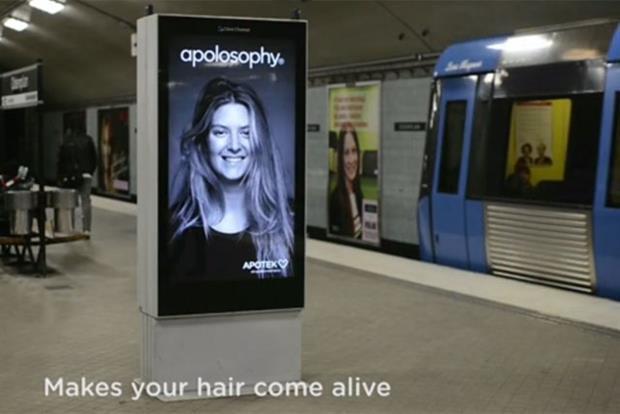Swedish subway digital stunt sends billboard woman's hair flying
