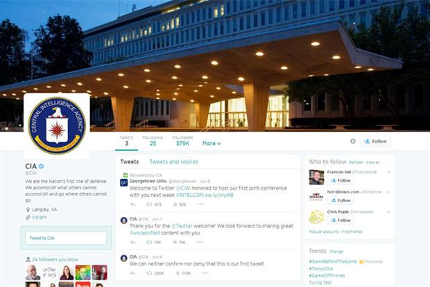 CIA: opens Twitter account