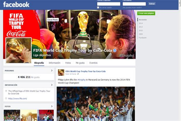 Coca-Cola: grew its Facebook fan base to 85 million during the World Cup