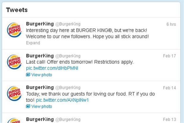 Burger King: regains control of its Twitter account