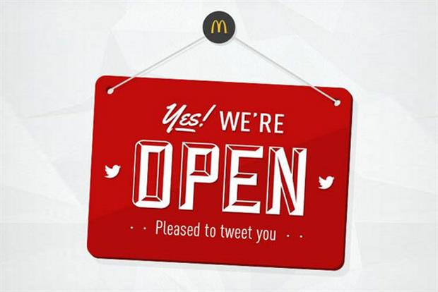 McDonald's UK: is 'open' on Twitter