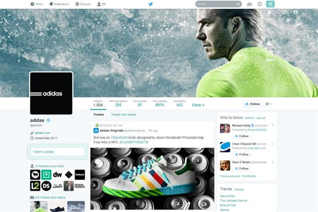 Adidas: one of the select to enjoy Twitter's new-look profile page