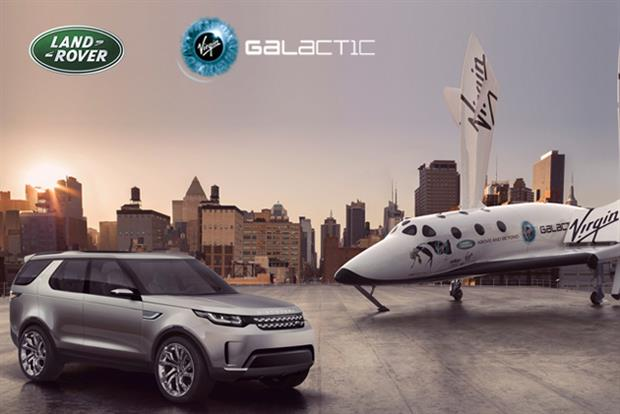 Land Rover: Discovery Vision vehicle pictured alongside a full-size replica of SpaceShipTwo