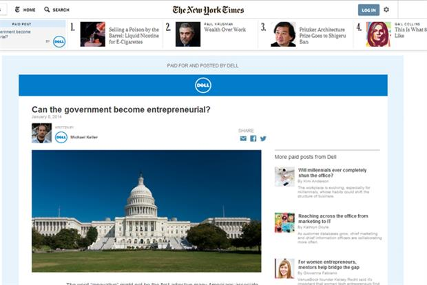 Native advertising: Dell ran a campaign with the New York Times at the start of the year