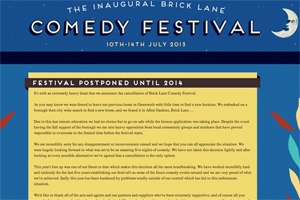Organisers forced to cancel Brick Lane Comedy Festival