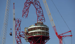 The last section of the Orbit is lowered into place