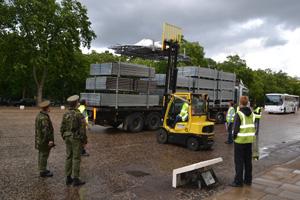 Unloading at Wellington Barracks