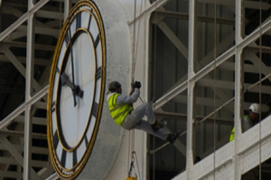 Abseilers scale Manchester Central as part of £20m redevelopment project