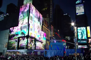 Times Square light show for Nokia Lumia 900 launch