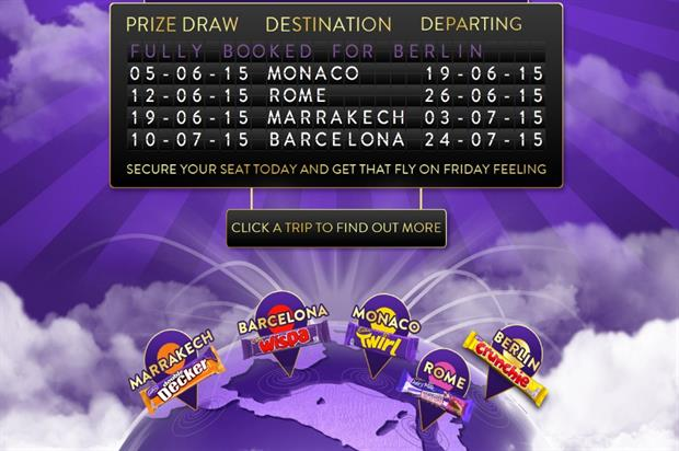 Cadbury is offering trips to five locations on its branded jet (image: flycadburyair.cadbury.co.uk)