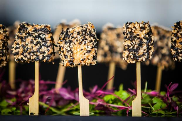 Sesame crusted salmon lollipops with a teriyaki Dip from Tobacco Dock Food