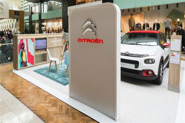 Citroen's pop-up stand at Westfield
