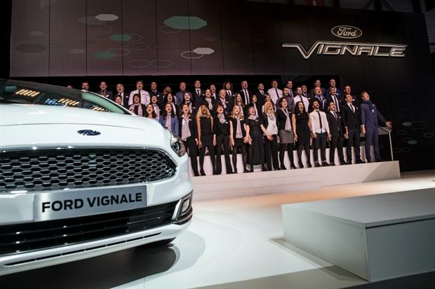 The unveiling included the 100-person Ford Vignale Choir