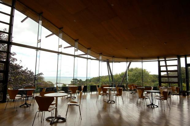 The Glass Room provides views of the Welsh coastline
