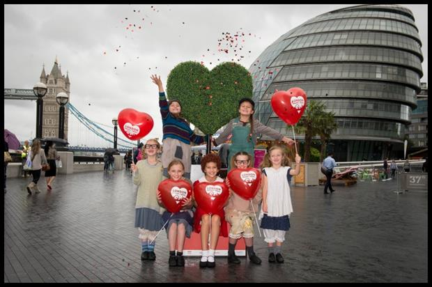 The cast of Annie Jr launched the London Heart Trail