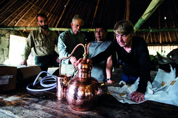 Bartenders were sent Amazonian drinking vessels before being taken to a botanical garden-style venue