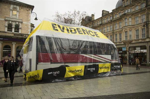 The giant evidence bag was positioned in Cardiff's city centre