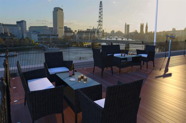 The terrace offers views across to the South Bank and the London Eye