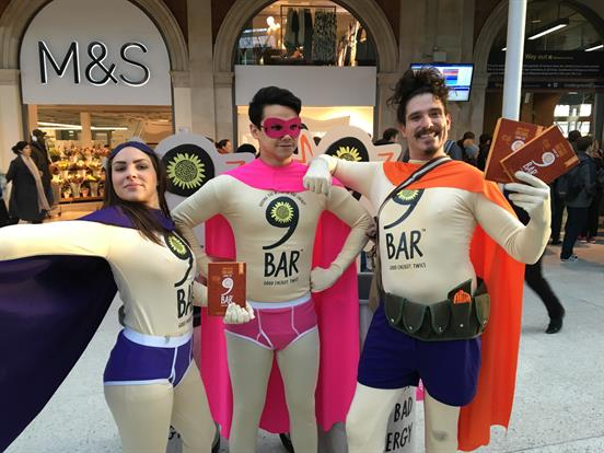 9Bar enlisted a team of superheroes to descend on London's train stations earlier this year